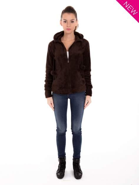 Brązowa pluszowa bluza z kapturem z uszkami i pomponami                                  zdj.                                  5