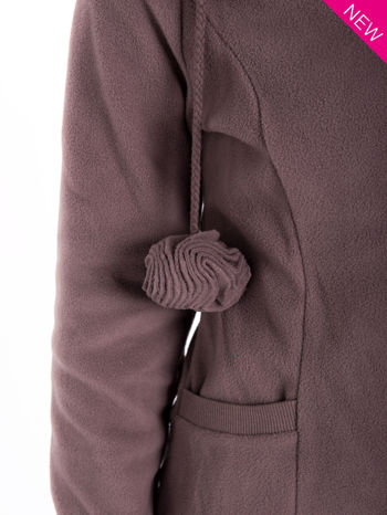 Brązowa polarowa bluza z kapturem z uszkami                                  zdj.                                  7