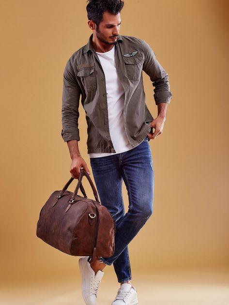 Brązowa skórzana męska torba podróżna                              zdj.                              6