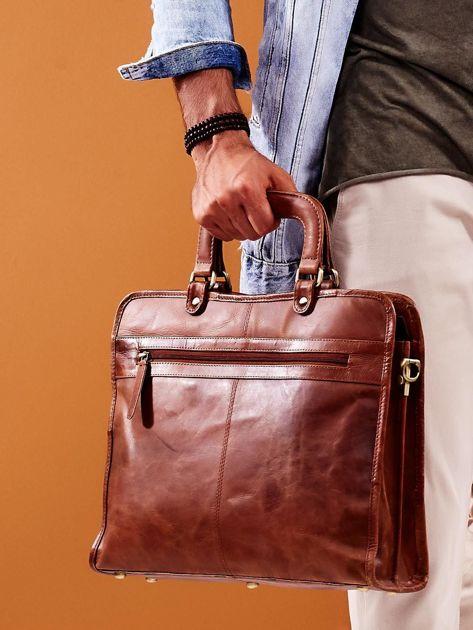 Brązowa skórzana torba męska do ręki                              zdj.                              4