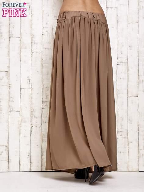Brązowa spódnica maxi na gumkę w pasie                                  zdj.                                  3