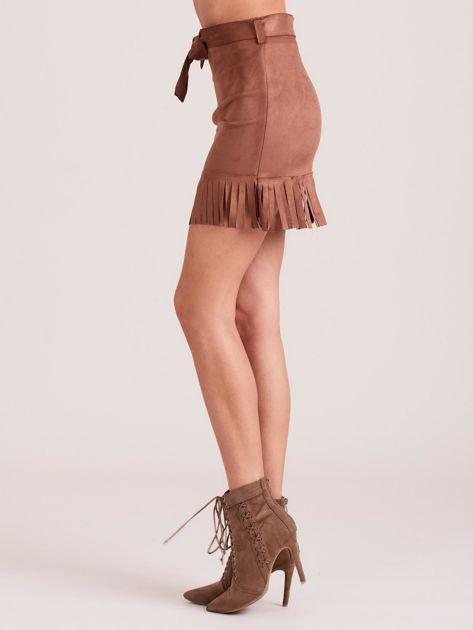 Brązowa spódnica z frędzlami                              zdj.                              3