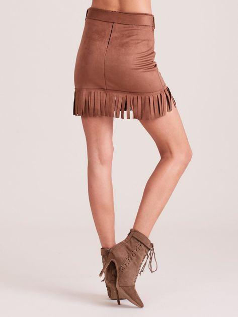 Brązowa spódnica z frędzlami                              zdj.                              2