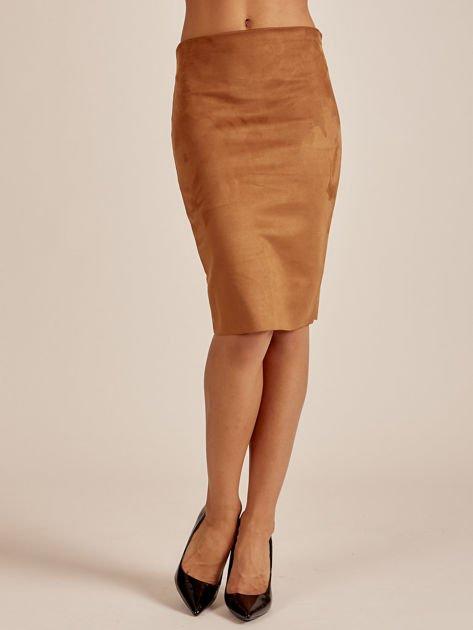 Brązowa spódnica z imitacji zamszu                              zdj.                              1