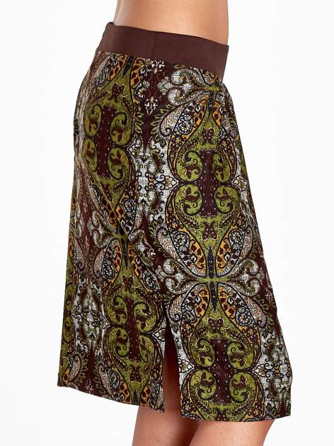 Brązowa spódnica z nadrukiem ornamentowym                                  zdj.                                  6