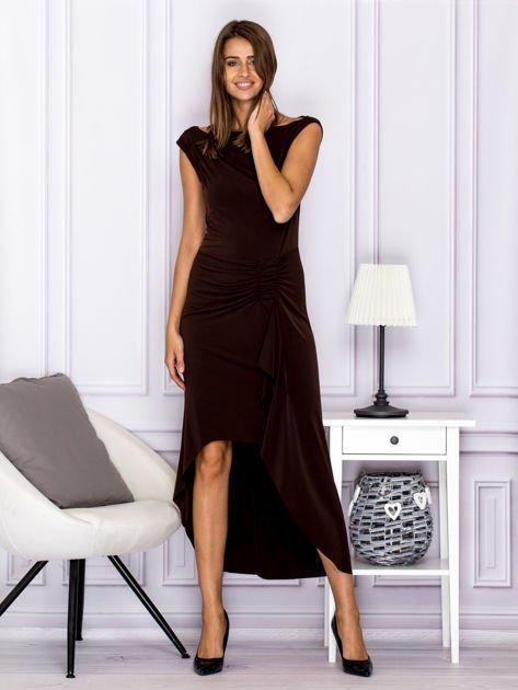 Brązowa sukienka maxi z dłuższym tyłem                              zdj.                              4