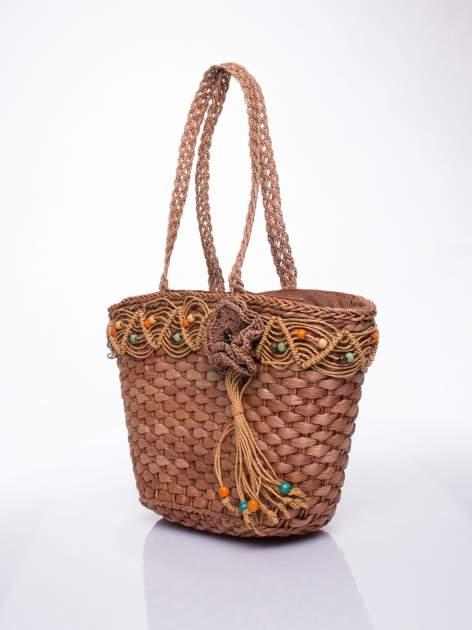 Brązowa torba koszyk plażowy z frędzlem                                  zdj.                                  3
