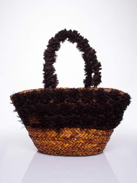 Brązowa torba koszyk plażowy z ozdobnymi kwiatami                                  zdj.                                  2