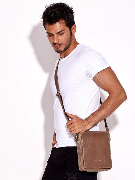 Brązowa torba męska skórzana na ramię                              zdj.                              3