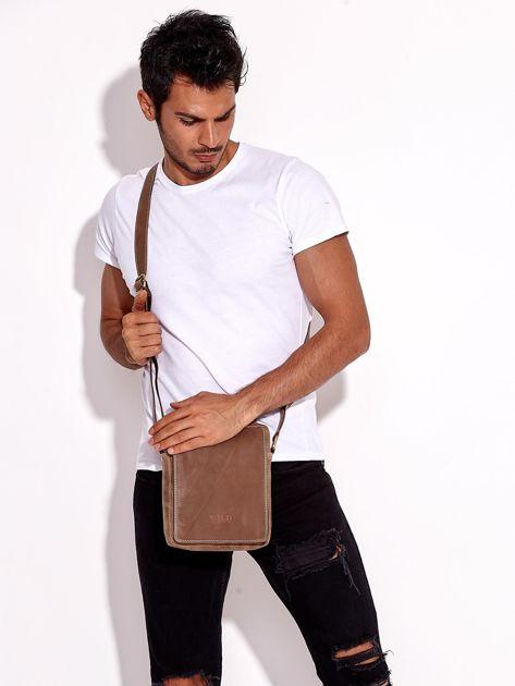 Brązowa torba męska skórzana na ramię                              zdj.                              6