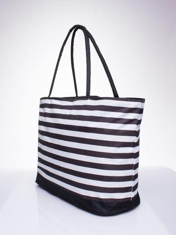 Brązowa torba plażowa w paski                                  zdj.                                  2