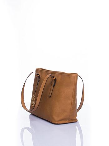 Brązowa torba shopper bag z regulowanymi rączkami                                  zdj.                                  4