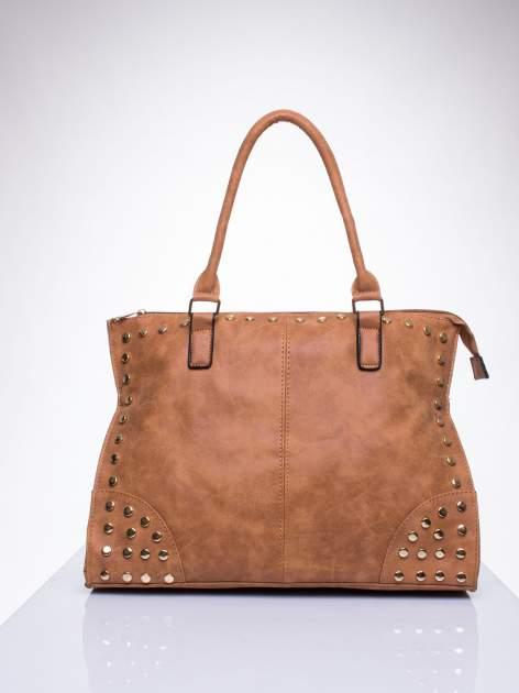 Brązowa torba shopper bag ze złotymi ćwiekami                                  zdj.                                  1