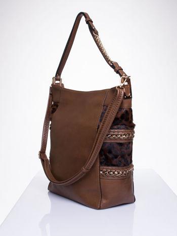 Brązowa torba z motywem panterkowym i odpinanym paskiem                                  zdj.                                  3