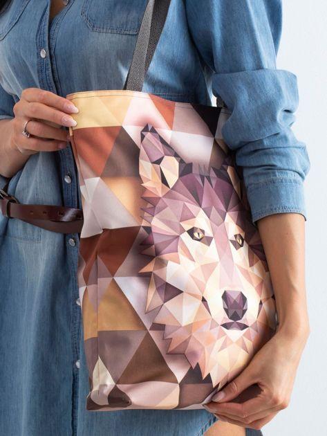 Brązowa torba z nadrukiem wilka                              zdj.                              2