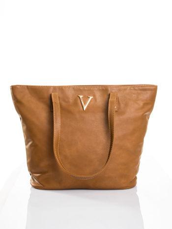 Brązowa torba ze złotym detalem                                  zdj.                                  1