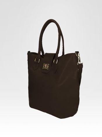 Brązowa torebka city bag z zatrzaskiem                                  zdj.                                  3