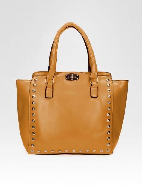 Brązowa torebka na ramię z dżetami                                  zdj.                                  5
