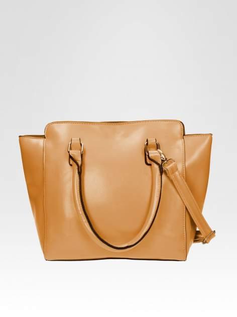 Brązowa torebka na ramię z dżetami                                  zdj.                                  3