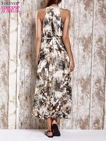 Brązowa wzorzysta sukienka maxi z dżetami