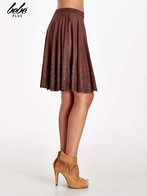 Brązowa zamszowa spódnica w stylu boho                                  zdj.                                  3