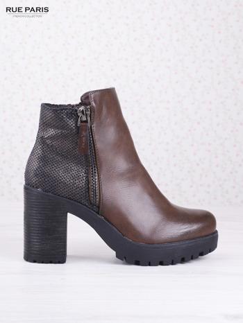 Brązowe botki faux leather z ciemną wstawką ze skóry węża zapinane na suwak                                  zdj.                                  1