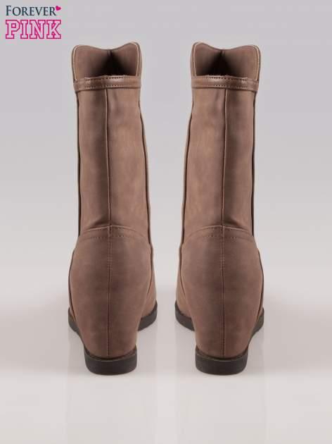 Brązowe botki leather Cocoa z ukrytym koturnem                                  zdj.                                  3