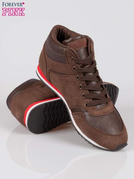 Brązowe buty sportowe faux suede Stylish z imitacji zamszu                                  zdj.                                  4