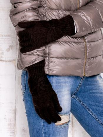 Brązowe długie rękawiczki z kokardą i prążkowanym ściągaczem                                  zdj.                                  3