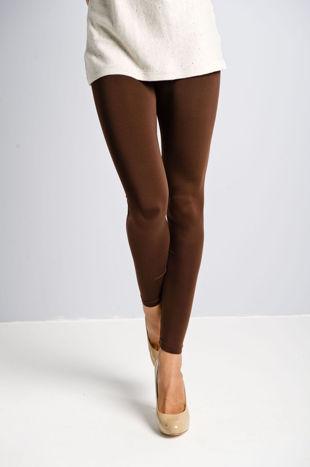 Brązowe gładkie legginsy                                  zdj.                                  4
