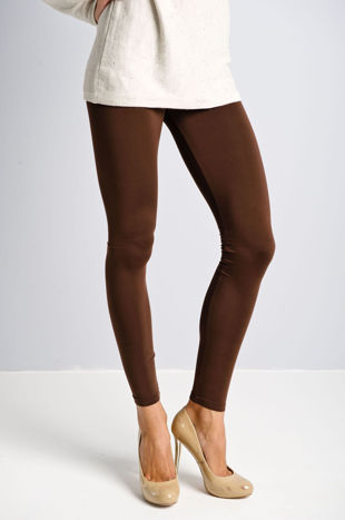 Brązowe gładkie legginsy                                  zdj.                                  5