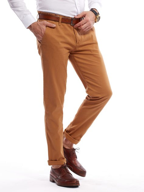 Brązowe spodnie męskie chinosy o prostym kroju                              zdj.                              3