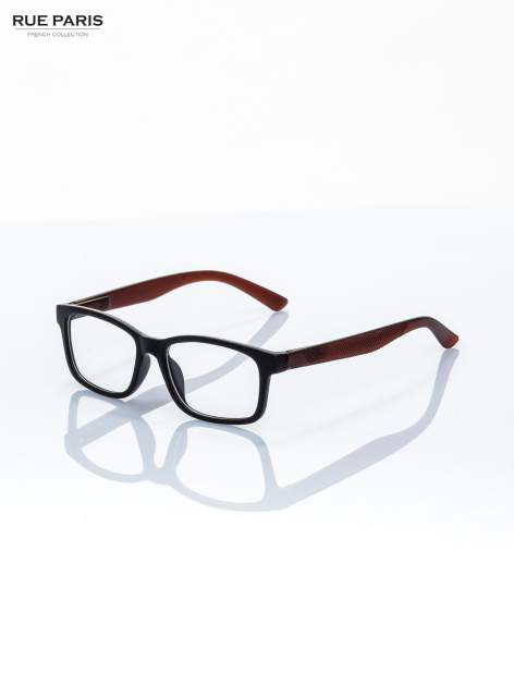 Brązowo-czarne okulary zerówki kujonki typu WAYFARER NERDY matowe                                  zdj.                                  2