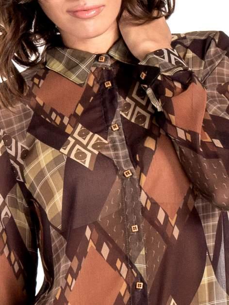 Brązowo-pomarańczowa długa koszula mgiełka w patchworkowy print                                  zdj.                                  6