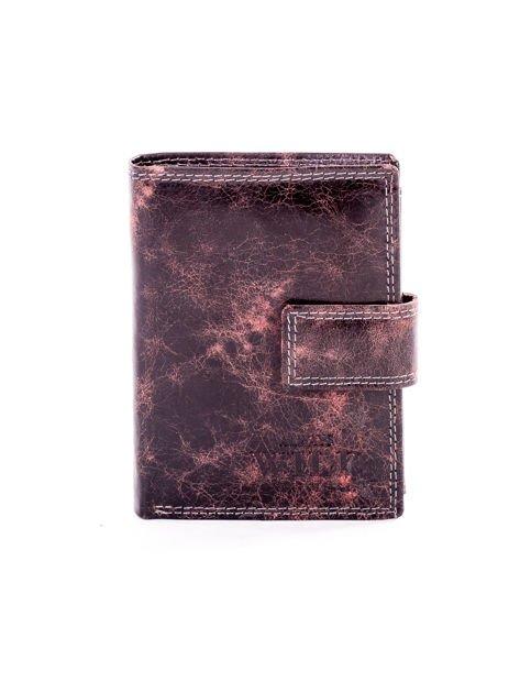 Brązowy cieniowany portfel męski ze skóry naturalnej