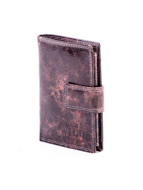 Brązowy cieniowany portfel męski ze skóry naturalnej                              zdj.                              3