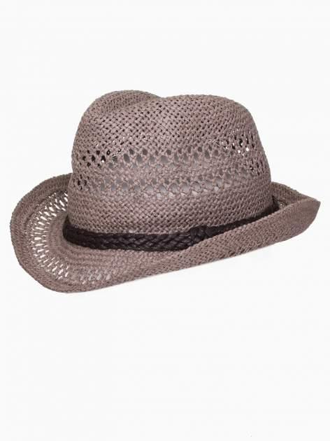 Brązowy damski kapelusz kowbojski z ciemną plecionką                                  zdj.                                  7