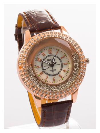 Brązowy damski zegarek na pasku ze skóry lakierowanej                                  zdj.                                  3