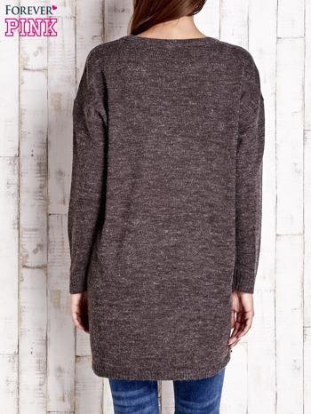 Brązowy długi sweter oversize                                  zdj.                                  4