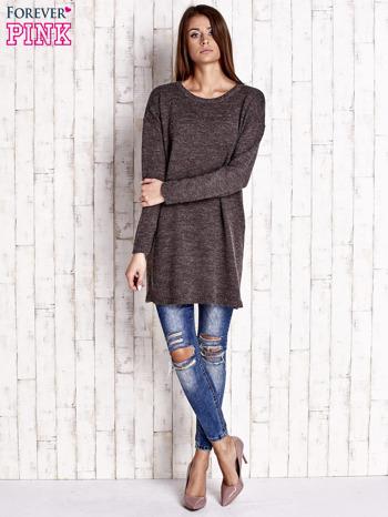 Brązowy długi sweter oversize                                  zdj.                                  2