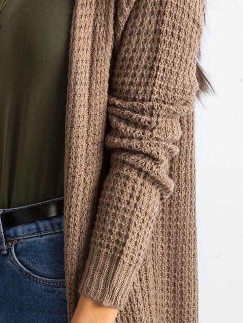 Brązowy długi sweter z dzianiny                              zdj.                              7