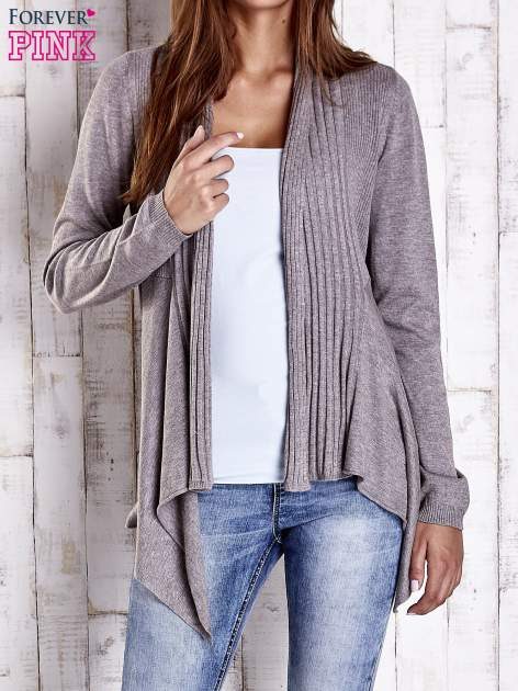 Brązowy długi sweter z wykończeniem w prążki                                  zdj.                                  1