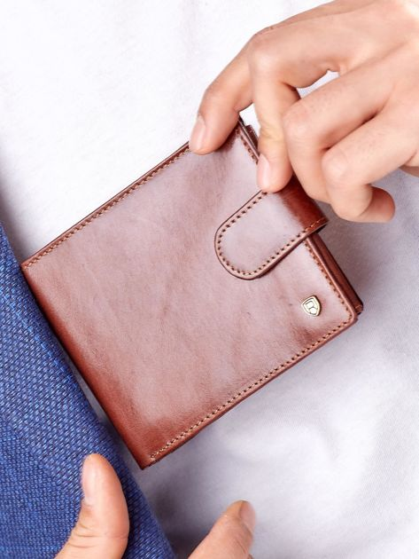 Brązowy elegancki portfel skórzany męski