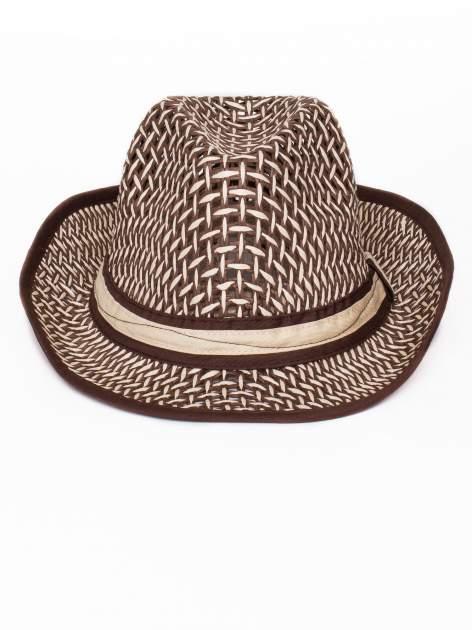 Brązowy kapelusz słomiany z dużym rondem i ciemną wstążką                                  zdj.                                  2