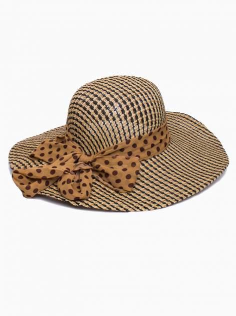 Brązowy kapelusz słomiany z szerokim rondem i apaszką                                  zdj.                                  2