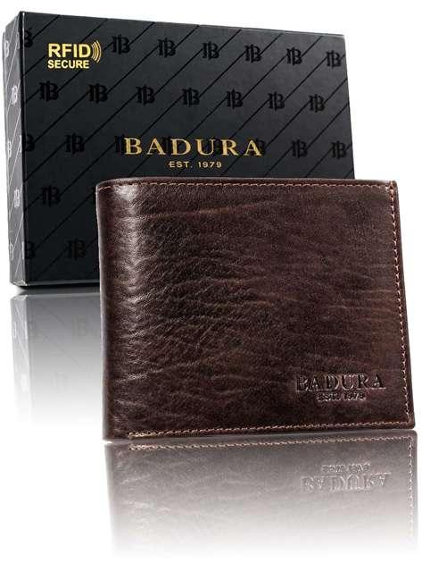Brązowy męski portfel skórzany BADURA