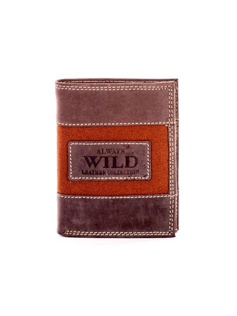 Brązowy męski skórzany portfel z materiałowym modułem