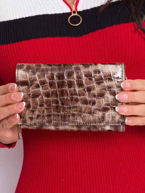 Brązowy podłużny portfel z motywem zwierzęcym
