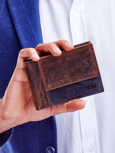 Brązowy portfel dla mężczyzny z geometrycznymi przeszyciami