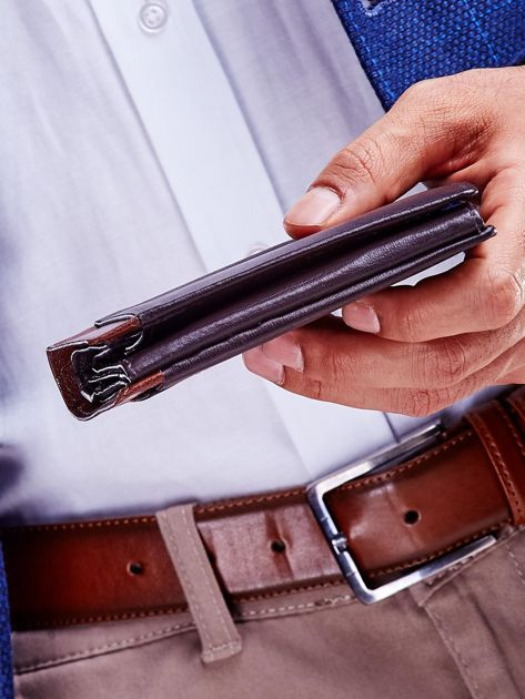 Brązowy portfel dla mężczyzny z ozdobnym wykończeniem                              zdj.                              4